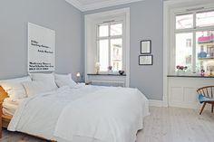 New bedroom color Blue Gray Bedroom, Bedroom Colors, Monochrome Bedroom, Small Bedroom Designs, New Room, Scandinavian Design, My Dream Home, Decorating Your Home, Room Decor