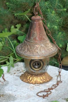 "Birdhouse, Reclaimed Items, Found Objects, Handcrafted, Garden Art, Metal Birdhouse ""Miss Minute"""