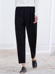 Black Simple Plain Straight Leg Pants