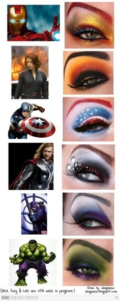 Avengers makeup. Awesome.