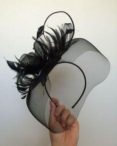 Black-Fascinator-Hat-Headband-Wedding-Races-Christening-Funeral