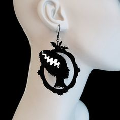 Bride of Frankenstein Silhouette Earrings  Laser Cut by CABfayre