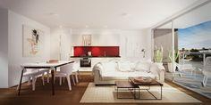 Pièce principale de vie d'un petit appartement moderne