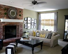 Curtains, gallery wall(matching one on other side of fireplace), mantle