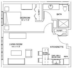 ****one bedroom house plans | ONE BEDROOM FLOORPLANS | Find house plans **************This is exactly what I was thinking.......