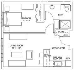 one bedroom house plans | ONE BEDROOM FLOORPLANS | Find house plans