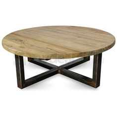 reclaimed barn wood round coffee table with metal base | wood