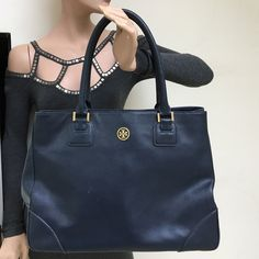 TAKE EXTRA 50% OFFAuthentic TB  Large  Bag Great mint condition. Authentic navy large saffiano.A snap is missing from the side Tory Burch Bags