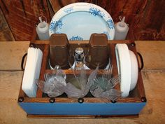 Table Caddy Napkin Holder Paper plate holder by WorkHorseFurniture