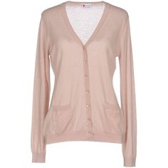 Armani Jeans Cardigan ($220) ❤ liked on Polyvore featuring tops, cardigans, light pink, light weight cardigan, long sleeve v neck cardigan, v neck long sleeve top, light pink cashmere cardigan and long sleeve cardigan