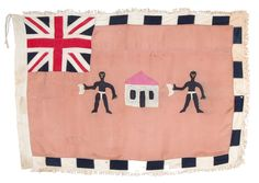 "The Asafo people of coastal Ghana have local military companies called fante which are politically and socially active. They have flags wihic are decorated with apliqueed figurative images, identical on both sides. Their motifs serve to identify each Asafo company by giving visual form to the creed by which it wishes to be known. The British Union Jack identifies either an early age, pre independence or flags made for commercial purposes.   Ghana, 2nd quarter 20th c, silk applique, 38"" x 54"""
