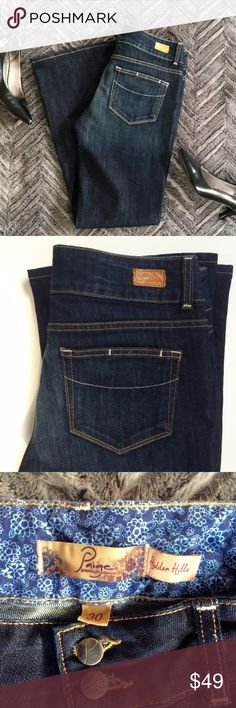 Paige Hidden Hills Jeans Size 30/30 Pre-owned but like new.  No tags.  Dark denim with a double button front. Paige Jeans Jeans