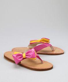 Lola et Moi: Pink Patent Bow Flip-Flop