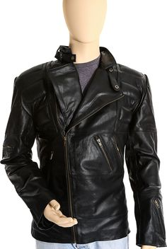PAMSO - BLACK LEATHER BIKER JACKET FOR MEN Now for only £193.00–£208.00 By UK Leather Factory