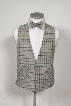 Traditional Harris Tweed low cut Waistcoat and Bow Tie