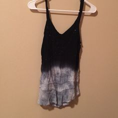 Ombre tank Black and blue ombre tank with light sequin detail on top. Flowy fit. Straps can be unbuttoned to make racerback. Bought from vendor at clothing show. Brand is LSI. Size medium. Great condition. Tops Tank Tops