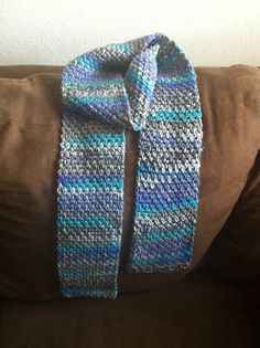 Blue and grey crochet scarf. 70inchL x 5inchW. Only $25 with free shipping! Buy now.  --------->>>> https://www.etsy.com/listing/198812482/crochet-scarf