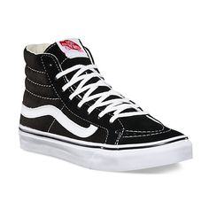 The Sk8-Hi Slim, a slimmed down version of its original, is lace-up high top with a durable canvas upper, a supportive and padded ankle and Vans vulcanized signature Waffle Outsole.