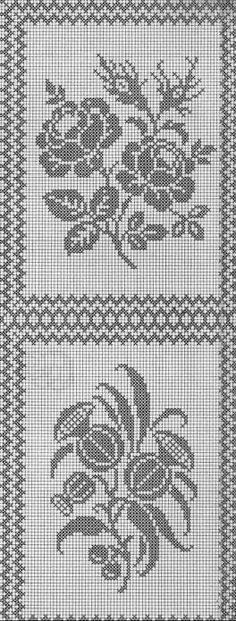 Filet crochet chart for a rose Cross Stitch Art, Cross Stitch Borders, Cross Stitch Designs, Cross Stitching, Cross Stitch Patterns, Crotchet Patterns, Doily Patterns, Embroidery Patterns, Filet Crochet Charts
