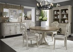 Farmhouse Reimagined 5 Piece Pedestal Table Set in Antique White Finish with Chestnut Tops by Liberty Furniture - White Dining Room Sets, White Dining Room Furniture, Dining Room Hutch, White Dining Chairs, Dining Sets, Round Dining, Accent Chairs, White Buffet, Liberty Furniture