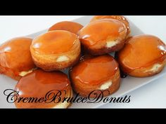 Creme Brulee Donuts - YouTube Delicious Donuts, Delicious Desserts, Yummy Food, Donut Recipes, Sweets Recipes, Beignets, Brioche Donuts, Doughnuts, Baked Donuts