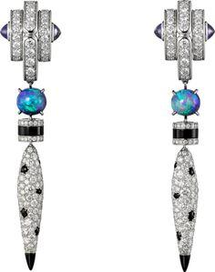 CARTIER. Earrings - platinum, opals, cabochon-cut purple sapphires, onyx, brilliant-cut diamonds.