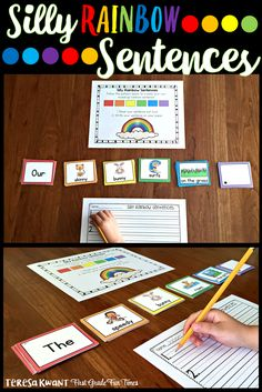 """How to Use Silly Rainbow Sentences in Your Classroom""""When making a silly sentence, students follow the rainbow poster provided and choose colored cards in the order outlined: red, orange, yellow, green, blue, and purple. Each color represents a part of the sentence."""""""