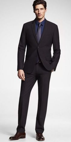 Express Pinstripe Stretch Wool Photographer Suit
