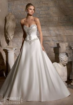 Wedding Gowns by Morilee featuring Diamante Beaded Embroidery on Duchess Satin Available in White/Silver, Ivory/Silver
