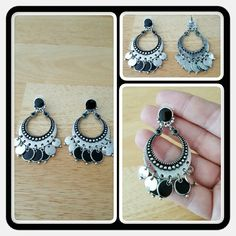 💙 EUC Woman's Black & Silver Enamel Earrings 💙 Woman's Earrings With Silver Tone & Black Enamel Worn Twice In Great Condition I Simply Don't Wear Them Anymore. These Are So Beautiful And Elegant You Can Dress Them Up Or Down 🚫 PAYPAL 🚫 TRADES 🚫 LOWBALL OFFERS 💙 Apt. 9 Jewelry Earrings
