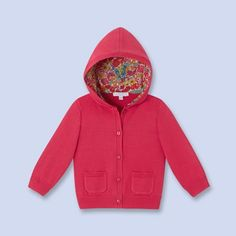 Hooded combed cotton cardigan RASPBERRY Girl - Baby Clothes - Jacadi Paris