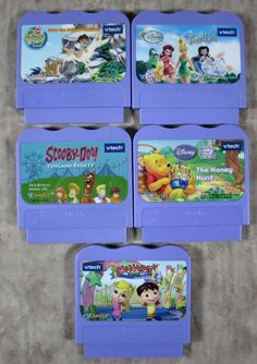 5 Vtech Vsmile Game Cartridges Scooby-Doo Tinkerbell Alphabet Park Diego Pooh #VTECH