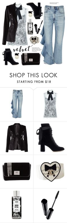 """""""Velvet"""" by deepwinter ❤ liked on Polyvore featuring Citizens of Humanity, Philosophy di Lorenzo Serafini, Tagliatore, Chloé, Jimmy Choo, Chanel, Shiseido, Kate Spade and velvet"""