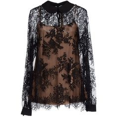 Le Coeur De Twin-set Simona Barbieri Blouse ($155) ❤ liked on Polyvore featuring tops, blouses, black, lace blouse, long sleeve lace top, long sleeve lace blouse, peter pan collar blouse and peter pan collar top