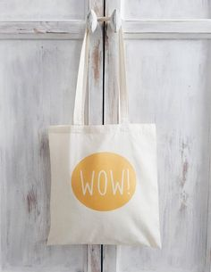 Tote bag quote wow yellow canvas bag gift for her market