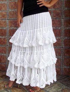 Vit Lång kjol