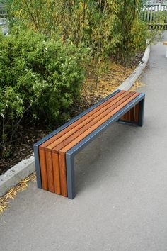 The Langley Bench is a steel framed bench with timber or recycled plastic slat infill. This bench can be free standing or bolted to finished grade. Welded Furniture, Steel Furniture, Industrial Furniture, Garden Furniture Design, Home Decor Furniture, Furniture Projects, Modern Landscaping, Backyard Landscaping, Metal And Wood Bench