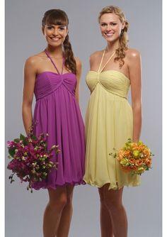 Beautiful Chiffon Short sweetheart halter Neckline Tea-Length bridesmaid dress