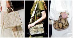 Wężowa skóra jest jednym z najgorętszych trendów tego sezonu, pojawia się na pokazach Gucci, Prady czy Michaela Korsa, szczególnie na torebkach. :) Na zdjęciu #Aigner, #Gucci, #Lanvin, fot. Imaxtree, kolaż ELLE.pl, źródło: http://bit.ly/1EUH32E