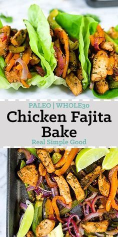 We are huge fans of tacos, fajitas and pretty much anything with Mexican flavors! And of course we love simple, quick and easy meals. So, this Paleo and Whole30 chicken fajita bake is basically where all the things collide! You'll love this flavor-packed Paleo and Whole30 sheet pan meal that's ready in just 35 minutes! | realsimplegood.com #paleorecipe #whole30recipe #sheetpan