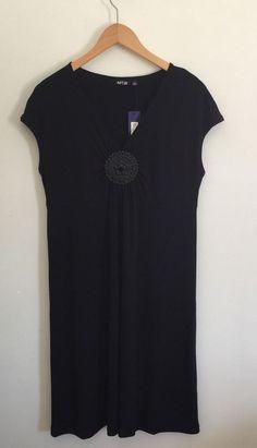 "Apt. 9 Black Dress ""LBD"" New With Tags NWT V- Neck w/ Decorative Brooch Kohls #Apt9"