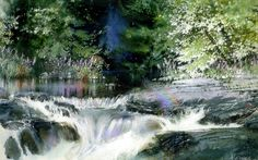 Rainbow Falls by Nita Engle Art Aquarelle, Watercolor Water, Watercolor Landscape Paintings, Watercolor Drawing, Watercolor Artists, Landscape Art, Rainbow Falls, Draw On Photos, Beautiful Landscapes