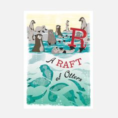 Raft Of Otters Print, £93, now featured on Fab.