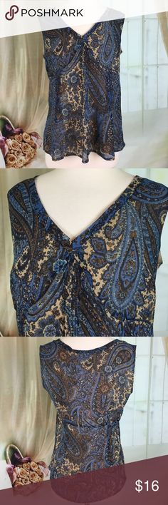 """a.n.a Blue Sleeveless Blouse Very pretty blue sleeveless blouse. Zipper on the side. Fully lined. 100% polyester. New condition. Size L. Bust measured flat armpit to armpit 19 inches, length 25"""". TP352 LOC-11 a.n.a Tops Blouses"""