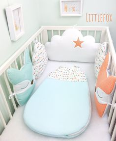 Baby cot bumper 5 clouds and fixes cushions image 4 Kids Cot, Toddler Bed, Baby Bedroom, Nursery Room, Nursery Ideas, Kids Bedroom, Baby Cot Bumper, Crib Bumpers, Baby Cribs