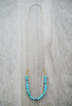 Coucou Suzette // Sautoir turquoise & chaîne plaquée or / Rope necklace / Long necklace / Chain Rope necklace / Hippie jewelry / Long Collier hippie chic or & turquoise / bohemian necklace / Boho boheme