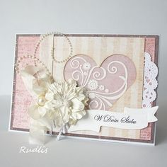 love, life and crafts Rudlis: Tea with Raspberry and Old Lace Wedding Day Cards, Wedding Anniversary Cards, Wedding Invitation Cards, Wedding Ideas, Pop Up Cards, Cute Cards, Sympathy Cards, Greeting Cards, Card Making Designs