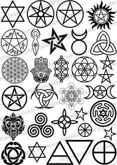 Wiccan symbols - ceramic decals sheet by Stained Glass Elements for sale on… Wicca Tattoo, Simbolos Tattoo, Tattoo Drawings, Pentacle Tattoo, Pagan Symbols, Symbols And Meanings, Ancient Symbols, Magick, Witchcraft
