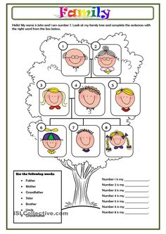 Family Tree Worksheet Printable Best Of Family Worksheet Free Esl Printable Worksheets Made by – Tate Publishing News Spanish Lessons, Teaching Spanish, English Lessons, Teaching English, Spanish 1, Spanish Teacher, Spanish Class, Spanish Worksheets, Worksheets For Kids