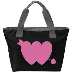 #PinkGlitter #DoubleHearts #Arrow #Black/DeepSmoke #ZipperedToteBag by #MoonDreamsMusic